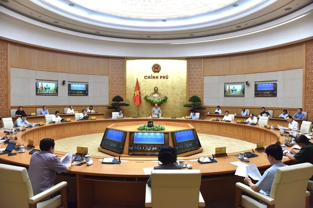 Quang cảnh phiên họp trực tuyến của Chính phủ với các các tỉnh, thành phố trên toàn quốc về phòng chống dịch Covid-19.Ảnh: Quang Hiếu.