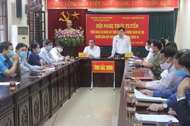 Ban Thường trực Ủy ban MTTQ Việt Nam tỉnh Bắc Ninh triển khai giám sát hỗ trợ người dân gặp khó khăn do đại dịch Covid-19.