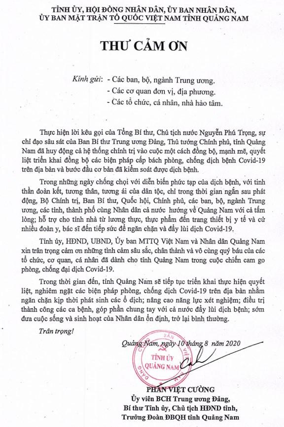 Lá thư cảm ơn của Bí thư tỉnh ủy Quảng Nam.
