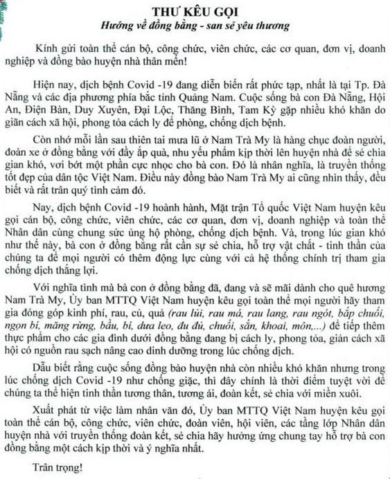 Thư kêu gọi của Ủy ban MTTQ Việt Nam huyện Nam Trà My.