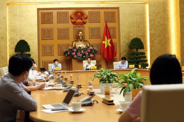 Quang cảnh cuộc họp Ban Chỉ đạo Quốc gia phòng, chống dịch Covid-19, sáng 18/8. Ảnh: VGP.