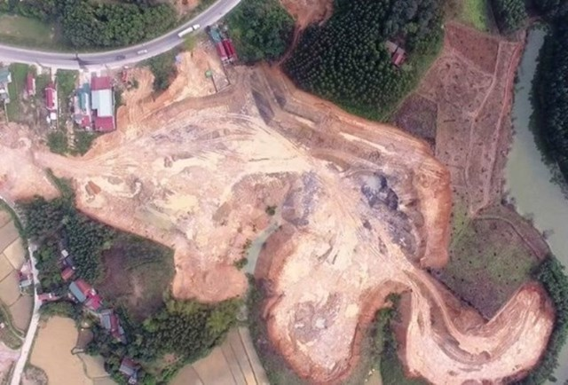 Theo Sở TN&MT, diện tích đất ở Đồng Tân bị khai thác trái phép là hơn 3 ha, với khối lượng lên tới 117.044 m3.