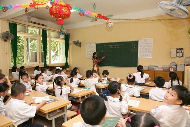 Học sinh lớp 1, trường Tiểu học thực nghiệm (Hà Nội). Ảnh: Phạm Quang Vinh.