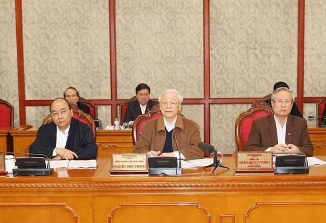 Tổng Bí thư, Chủ tịch nước Nguyễn Phú Trọng chủ trì phiên họp của Bộ Chính trị, sáng 20/3/2020, về công tác phòng, chống dịch Covid-19 Nguồn: Bộ Y tế.