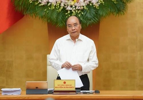 Thủ tướng Nguyễn Xuân Phúc phát biểu kết luận phiên họp. Ảnh: VGP.