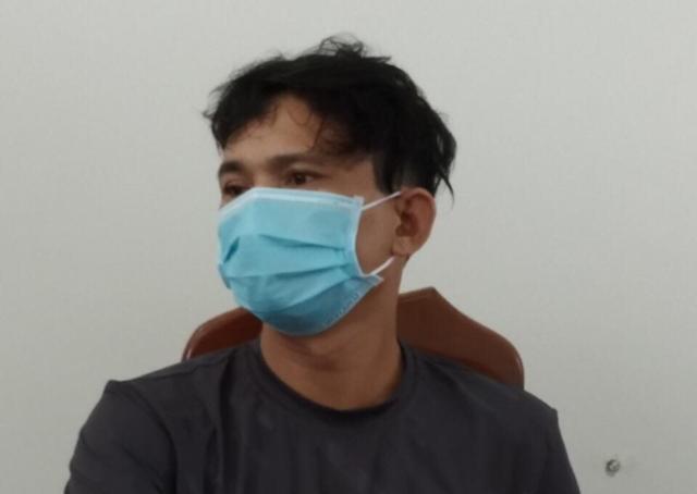 Đối tượng Lê Văn Thông tại cơ quan Công an.