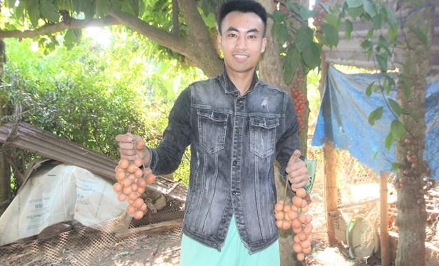 Người dân xã Tiên Thọ vui mừng thu hoạch trái dâu đất.