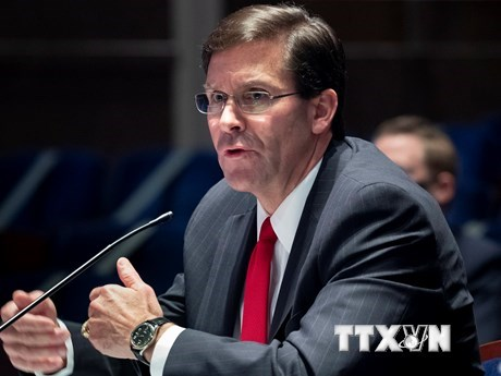Bộ trưởng Quốc phòng Mỹ Mark Esper phát biểu tại phiên điều trần ở Washington, DC ngày 9/7/2020. (Ảnh: AFP/TTXVN).