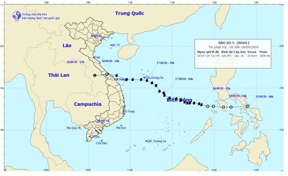 Đường đi của cơn bão số 5-NOUL.