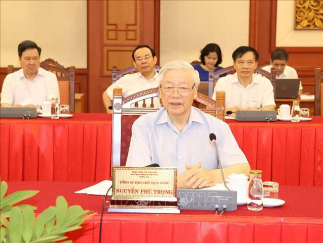 Tổng Bí thư, Chủ tịch nước Nguyễn Phú Trọng phát biểu chỉ đạo tại buổi làm việc với Ban Thường vụ Thành ủy Hà Nội. Ảnh: Trí Dũng/TTXVN.