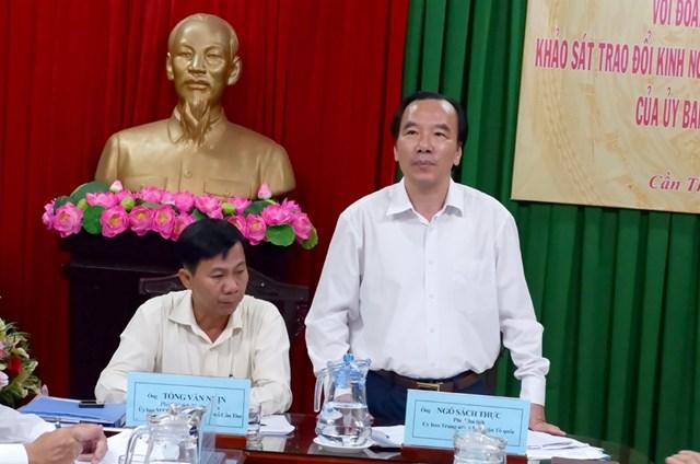 Phó Chủ tịch UBTƯ MTTQ Việt Nam Ngô Sách Thực phát biểu kết luận tại buổi làm việc.