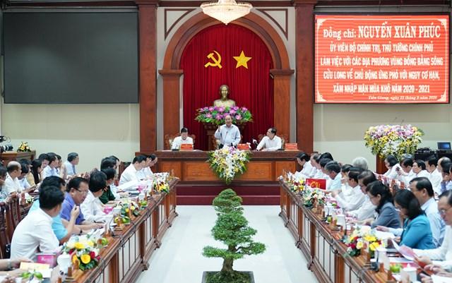 Toàn cảnh buổi làm việc. Ảnh: VGP/Quang HiếuCùng dự cuộc làm việc có Phó Thủ tướng Trịnh Đình Dũng, lãnh đạo một số bộ, ngành và 13 tỉnh, thành phố ĐBSCL.