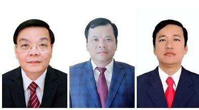 Chủ tịch UBND thành phố Hà Nội Chu Ngọc Anh; Phó Chủ tịch UBND tỉnh Bắc Giang: Phan Thế Tuấn, Lê Ô Pích (từ trái qua phải). Ảnh: VGP.