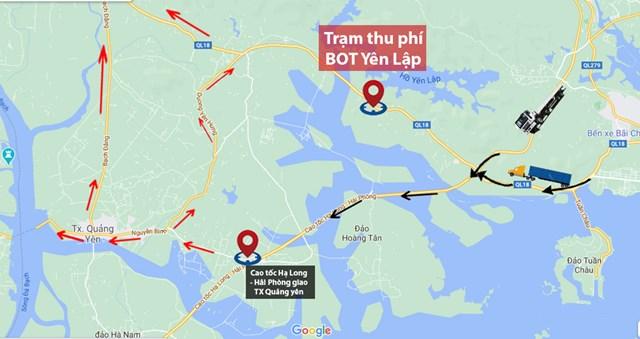 Hướng đi tránh trạm BOT Đại Yên (Ảnh: Google Maps).