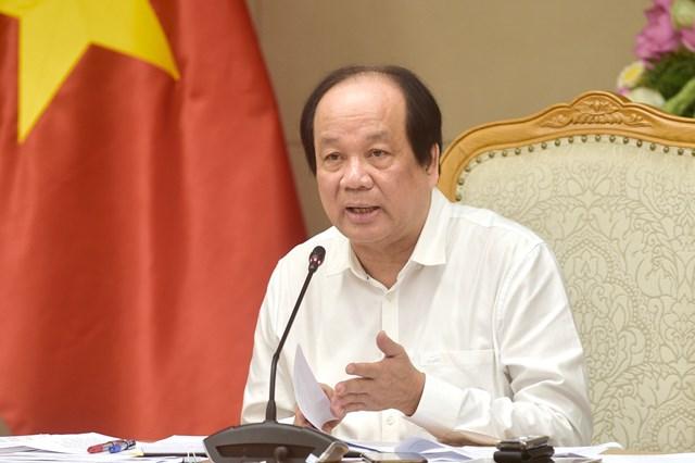 Bộ trưởng, Chủ nhiệm VPCP Mai Tiến Dũng phát biểu tại buổi làm việc. Ảnh: VGP/Nhật Bắc.