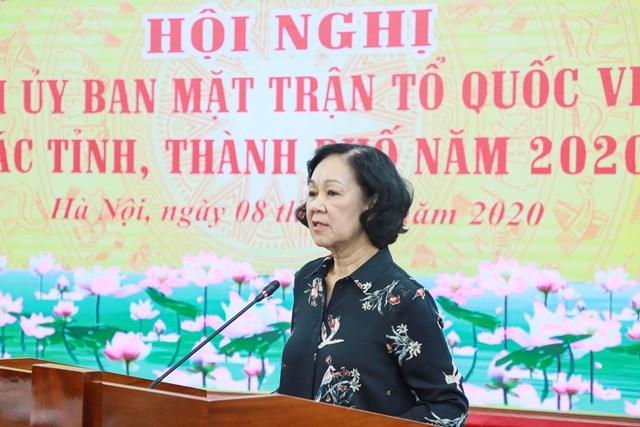 Trưởng ban Dân vận Trung ương Trương Thị Mai phát biểu tại hội nghị. Ảnh: Quang Vinh.